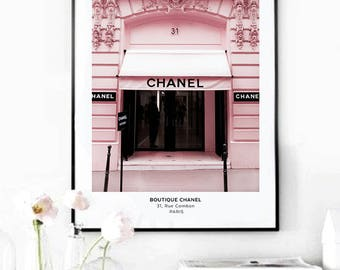 31 Rue Cambon poster. Pink house poster. Fashion boutique. Fashion poster. Gossip girl. Printable fashion poster. Instant download