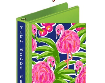 PINK FLAMINGO BINDER Cover Set, 3 Ring Binder Cover Insert, Personalized Ring Binder, Preppy Gift, Fits Most Standard Size 3 Ring Binders
