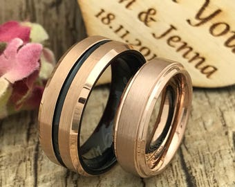8mm/6mm His and Hers Tungsten Ring, Personalize Engrave Tungsten Ring, Black Wedding Ring, RoseGold Wedding Ring, Couples Ring Set TCR439
