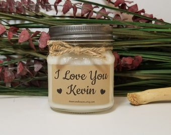 I Love You Candle - 8oz Soy Candles Handmade - Boyfriend Birthday Gift  - Scented Candles - Romantic Gift - Personalized Candles