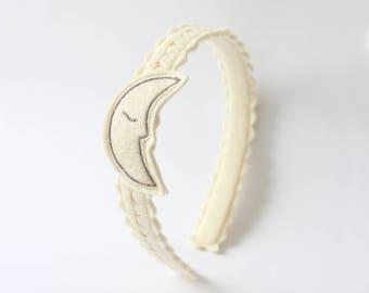Silver Moon Headband / Girls Headband / Wool Felt / Girl's Accessory / Kid's Fashion