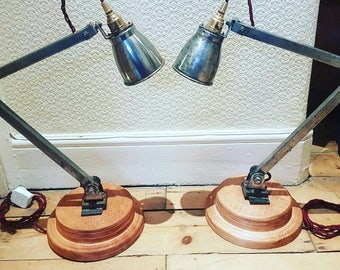 Pair of Memlite industrial articulated desk or bedside lamps: rewired