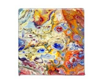 Abstract Fluid Painting - Mini - Orange/Blue