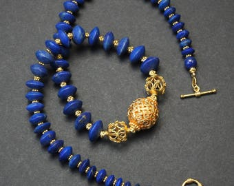 Unpolished Lapis Lazuli and Vermeil Gold Necklace E 08
