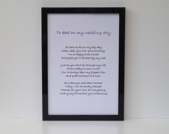 Framed poem from bride to father of the bride, Wedding gift for dad, step dad, adopted dad from daughter, Can personalise with name and date