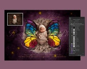 April special offer 90% off - Digital backdrop - PSD file with layers - Newborn felted wool butterfly 2  - Beautiful Digital background