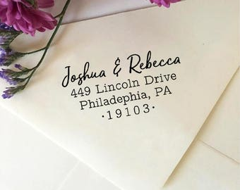 Personalized Address Stamp, Custom Return Address Stamp, Modern Wedding Stamp, Self Inking Stamp, Wooden Rubber Stamp, Newlywed Gift