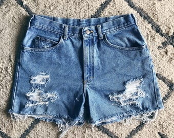 High Waisted Shredded Shorts