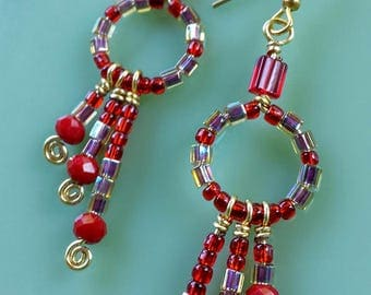 Red and Gold Dangle Earrings, delicate beaded, wiewrapped gold plated