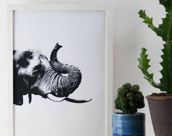 Elephant Print, Black and White Print, 29.7 cm x 42 cm, Poster, A3 Art Print, Animal Print, Screen Print, Gift Idea, Print