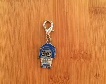 Inside Out Sadness zipper charm, Inside Out Sadness zipper pull, Inside Out Sadness keychain, Disney charm