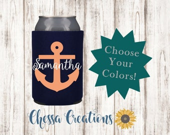 Nautical Can Cooler, Anchor Can Cooler, Bottle Insulator, Can Cooler, Bottle Insulator, Can Insulator, Name Can Cooler, Bridesmaid Gift