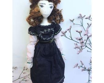 NADINE Collectible Handmade Fabric Art Doll OOAK Textile Soft Sculpture