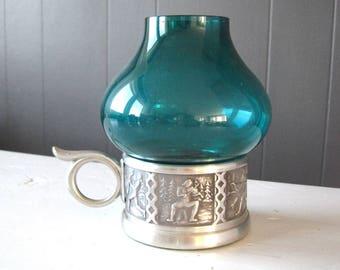 Vintage Norwegian Pewter and Green Glass Lantern, ITB Pewter Candleholder, Scandinavian Pewter Design, Norwegian Traditional Folk Pewter Art
