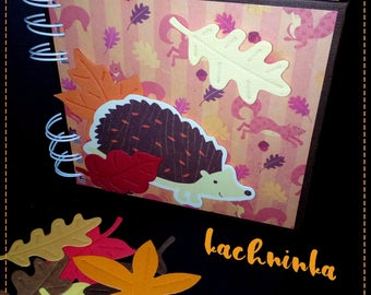 AUTUMN IN WOODLAND handmade notepad w sticky notes inside / fancy & cute journal with o-wire binding / hedgehog, fox, owl, fawn, rabbit