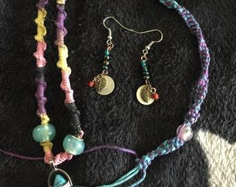 Blue Chakra bullet hemp necklace hemp bracelet and earrings