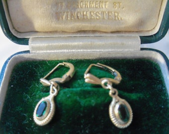 """Delicate """"Aquamarine"""" and Rolled Gold Lever Back Earrings by Andreas Daub"""
