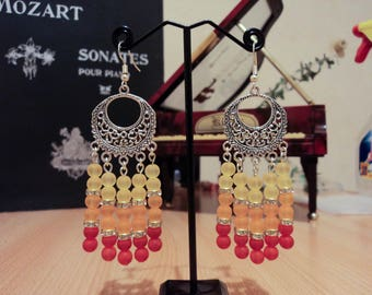 Chandelier earrings yellow/orange/red frosted beads - silver - 9 cm