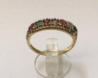 9ct Gold & Multi-Gem Ring - Hallmarked - Size 7 (UK N)