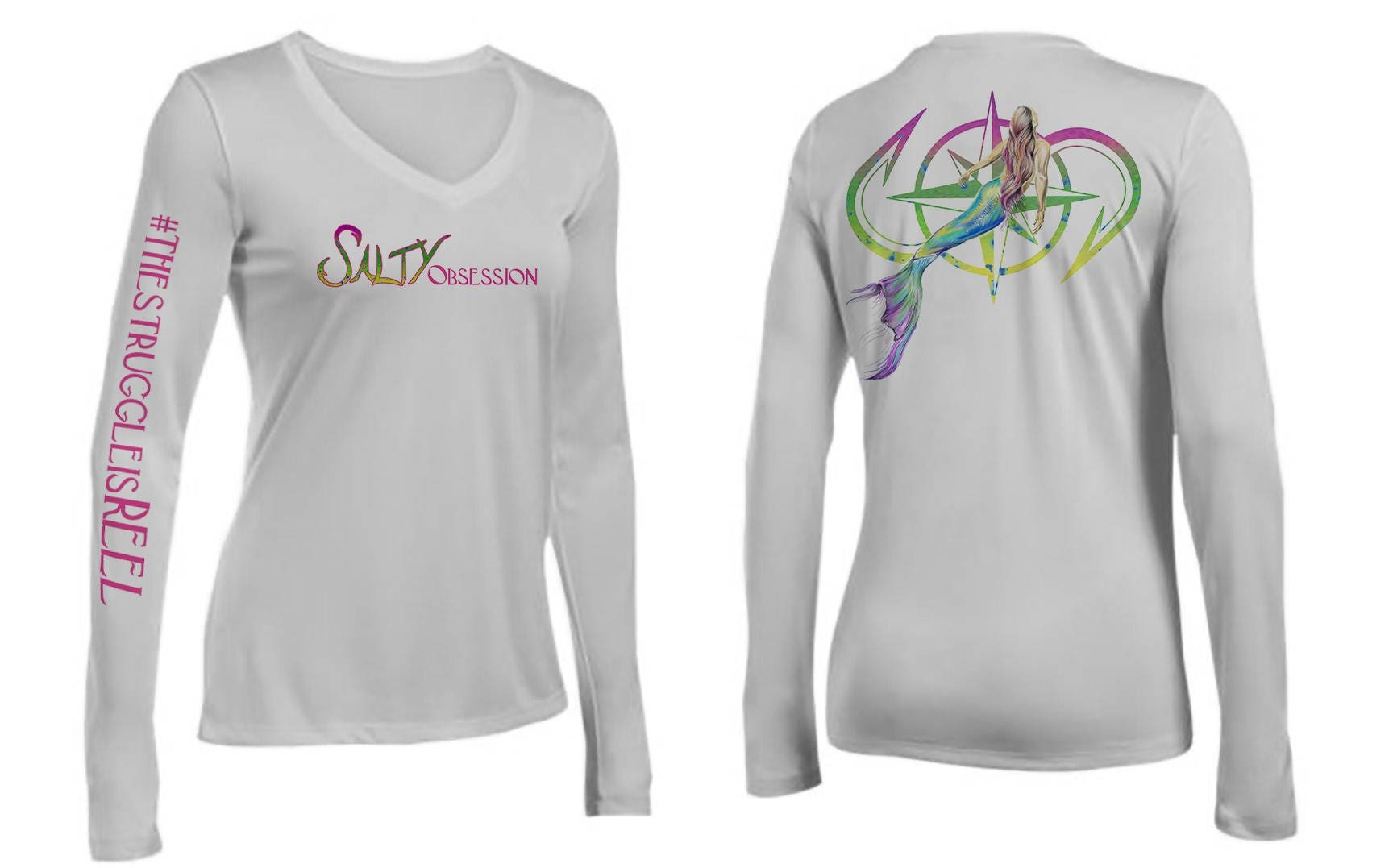 Salty Obsession Long Sleeve Silver Mermaid Logo Womens