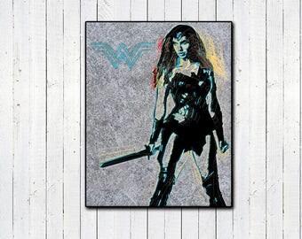 "Wonder Woman 11x14"" Print, DC Comics, Comic Book Prints, Vaporwave, Superhero Prints, Superhero Movies, Girl Boss, Warrior Women, Strong"
