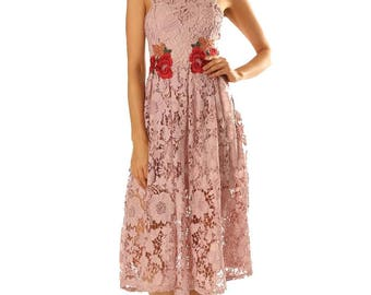 Womens Guipure Lace Dress With Flower Patches