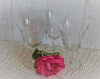 3 large stemmed glasses Art Deco 30's. France