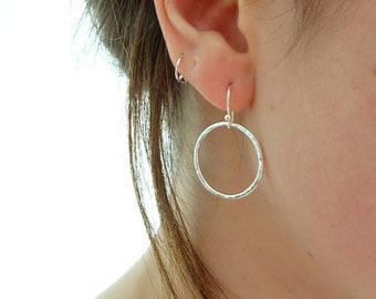 Silver Circle Earrings - Circle Drop Earrings - Sterling Silver Hoop Earrings - Hammered Circle Earrings