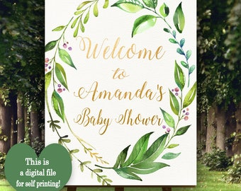 Garden Welcome Poster, Printable Welcome sign, Customised Welcome sign, Welcome to baby shower,  Green Leafs Baby shower decorations, L-F