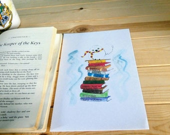 Harry Potter watercolour illustration | Wall art | A5 | Hedwig | Hogwarts books | Gryffindor