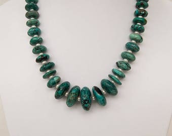 Turquoise Necklace made of Lively Rondels and Pearls – Gemstone Jewelry, Crystal Jewellery