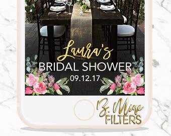 BRIDAL SHOWER SNAPCHAT Geofilter, Wedding Snapchat Geofilter, Floral Snapchat Filter, Bridal Shower,Bridal Shower Sign, Gold Snapchat Filter