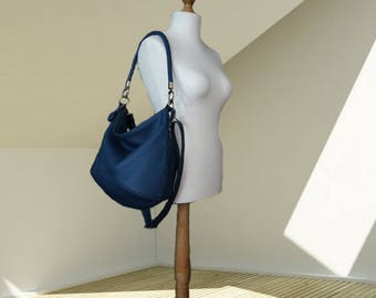 Blue Leather hobo bag  women's handbag  shoulder strap crossbody leather purse  zippered tote Slouch Hobo Bag Soft Leather Casual Purse