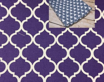 Purple Quarterfoil Cotton Contoured Changing Pad Cover 100% Cotton Nursery Baby Changing Pad Covering
