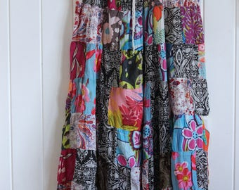 Funky, colourful, patterned, patch work, long, maxi skirt