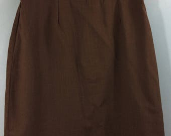 Vintage brown belted short fitted skirt UK 8/10