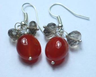 925 Sterling Silver Handmade Earrings Sterling Silver With Natural Carnelian & Smoky Gemstone