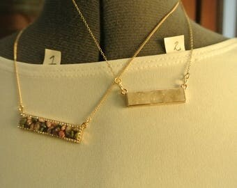 Bar Necklace with your Chose of White Druzy or Tourmaline