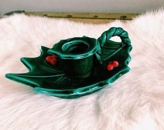 Vintage Mistletoe + Holly Candlestick Holder / Lefton Christmas Holly Candle Holder