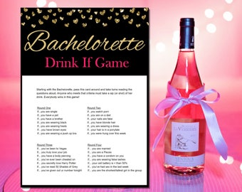 Drink If - Bachelorette Party Games -  Printable - Bachelorette Party -  Bachelorette Games - Hens Night Games - Pink and Gold