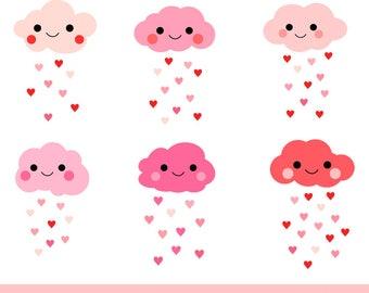 Cute clouds clipart, Love cloud clip art, Pink Valentine cloud clipart, Kawaii rain cloud clipart raindrop , Heart cloud clipart baby shower