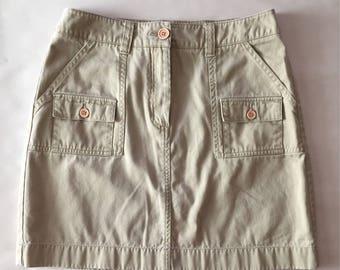 HERMAN GEIST nude mini skirt | 90s soft denim cotton mini skirt | envelope pockets hiking skirt