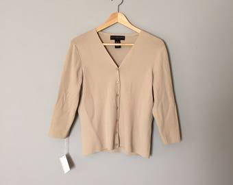 Geoffrey Beene sport cardigan / cloudy gray three quarter cardigan / 1990s cropped cardigan