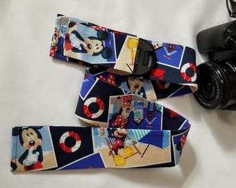 Mickey and Minnie at the beach camera strap cover great photographer gift