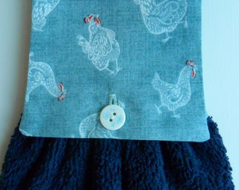 Handmade Hanging Hand Towel Navy with Chickens