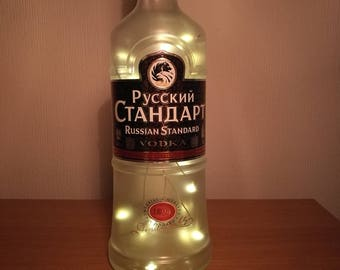 Upcycled Russian Standard Vodka LED Light Bottle