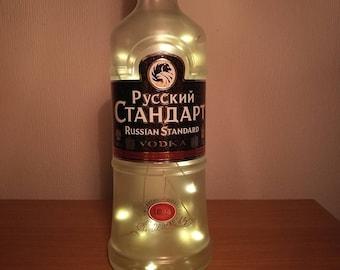 Upcycled Russian Standard Vodka LED Light Bottle