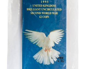 1995 2.00 Two Pound Dove Of Peace Brilliant Uncirculated pack