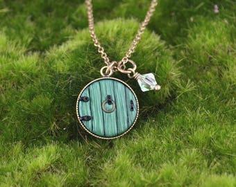 Hobbit Door Necklace - Fairy Door Necklace - Hobbit Door - Antique Brass Necklace - Handmade Polymer Clay Necklace by LittleMillieShop