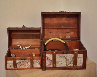 Set of 2 Wooden- leather jewelry boxes / jewellery boxes / makeup box / keepsake box / wooden trinket box / treasury box